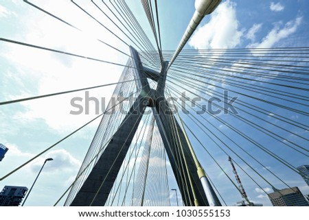 Closeup of cable stayed bridge, view from below. Marginal Pinheiros, Sao Paulo, Brazil