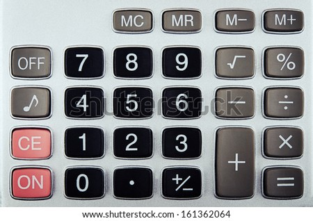 closeup of calculator buttons on background - stock photo