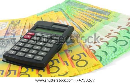 closeup of calculator with australian money - stock photo