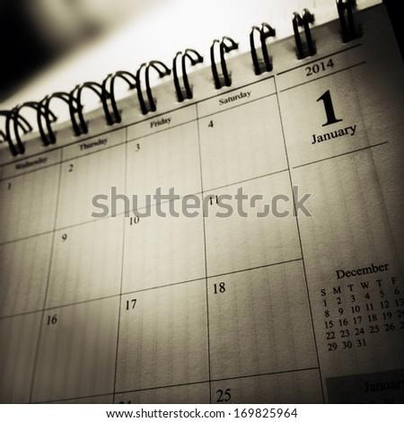 Closeup of calendar page - stock photo