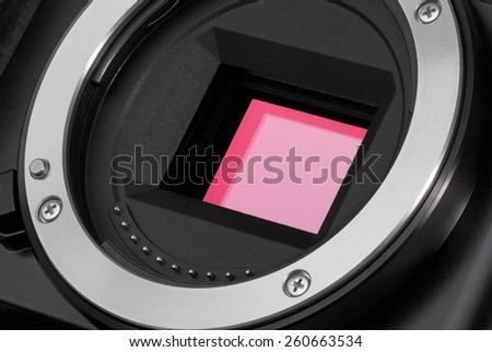 Closeup of camera image sensor - stock photo