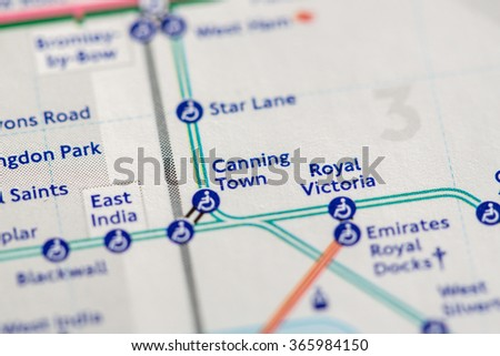 Closeup of Canning Town station on a map of the Jubilee metro line in London, UK. - stock photo
