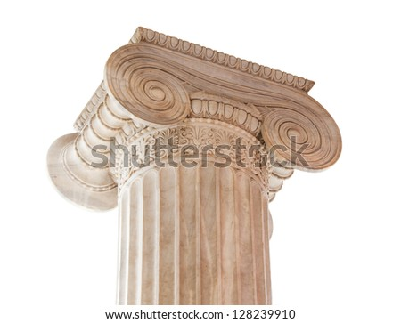 Closeup of capital (volute and abacus) of a nineteenth century neoclassical ionic column isolated on white. This column is located in the porch of the Archaeological Museum of Athens, Greece. - stock photo