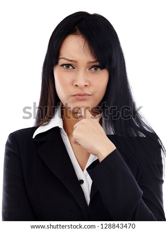 Closeup of caucasian businesswoman looking distrustful at camera. Isolated on white background. Business concept - stock photo