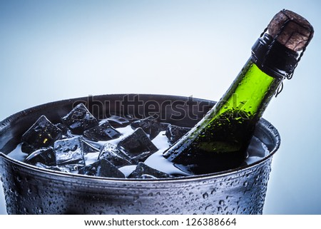 Closeup of celebration of cold champagne