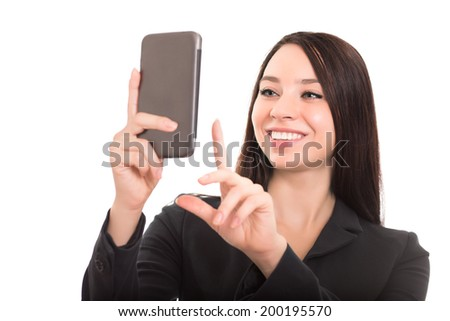 Closeup of cheerful businesswoman with smartphone. Isolated on white - stock photo