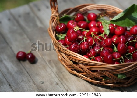 Closeup of cherries in a basket