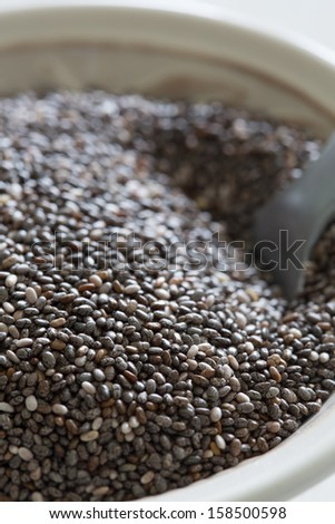 Closeup of chia seeds, one of the superfoods