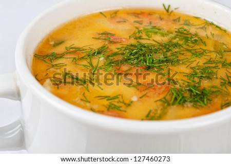 closeup of chicken soup served in a bowl