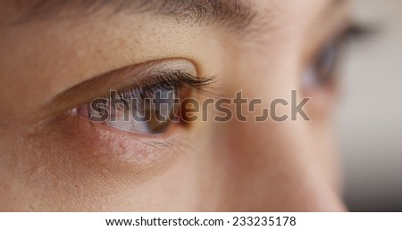 Closeup of Chinese woman's closed eyes - stock photo