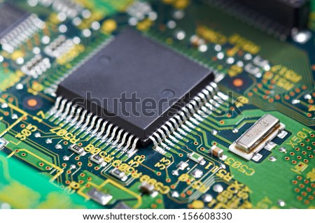 Closeup of chip on computer circuit board.