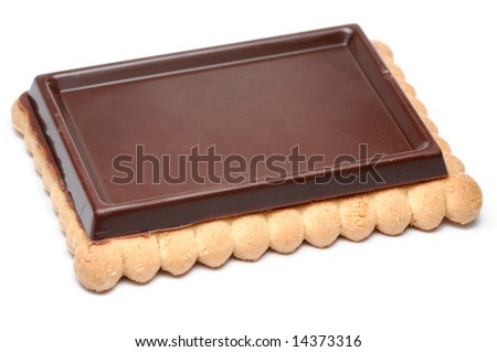 Closeup of chocolate biscuit isolated over white background