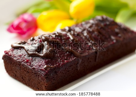 Closeup of chocolate cake. Shallow depth of field