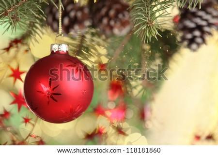 Closeup of Christmas ball from Christmas tree. - stock photo