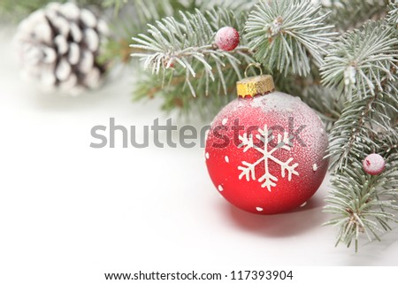Closeup of Christmas ball with pine branch,Copy space for your text. - stock photo