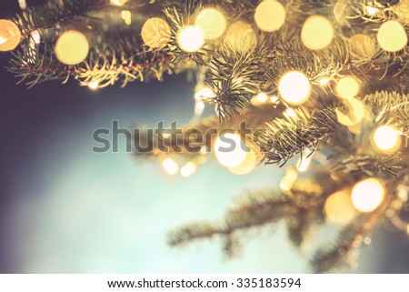 Closeup of Christmas tree,Christmas background - stock photo