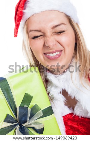 Closeup of Christmas woman making funny faces. - stock photo