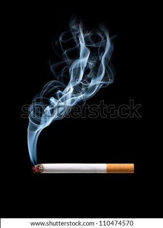 Closeup of cigarette on ashtray with wisp of smoke. Isolated - stock photo