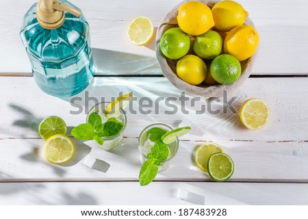 Closeup of citrus drink for summer - stock photo