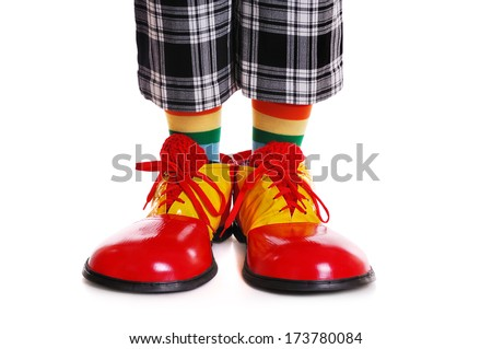 Closeup of clown shoes on white background front view - stock photo