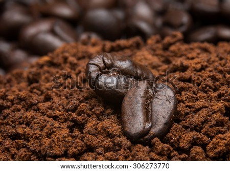Closeup of coffee beans at roasted coffee heap. Coffee bean on macro ground coffee background - stock photo
