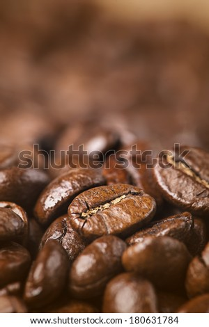 Closeup of coffee beans with Shallow depth of field - stock photo