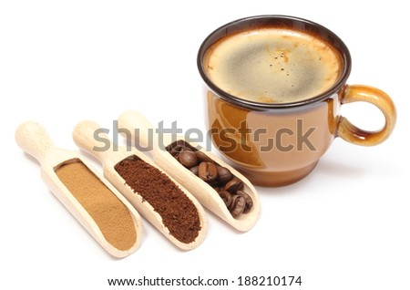 Closeup of coffee grains, ground coffee and instant coffee on wooden spoon and cup of hot beverage, cup of coffee. Isolated on white background - stock photo