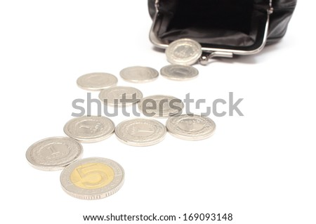 Closeup of coins and black leather pocket purse. Isolated on white background