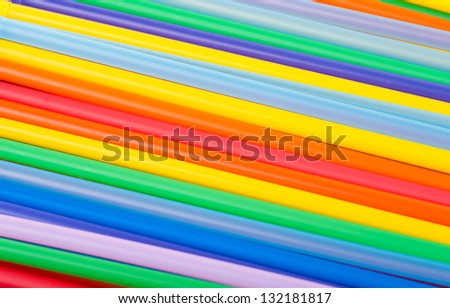 Closeup of Color Cocktail Straws