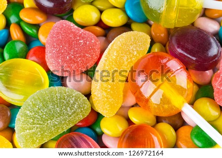 Closeup of colorful candies as texture - stock photo
