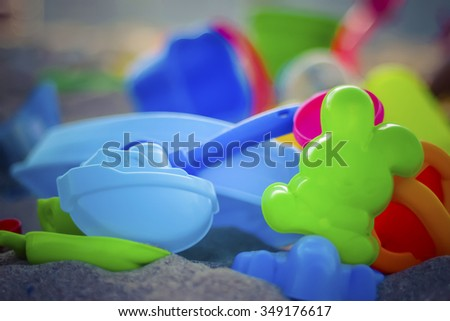 Closeup of colorful childrenâ??s sand toys