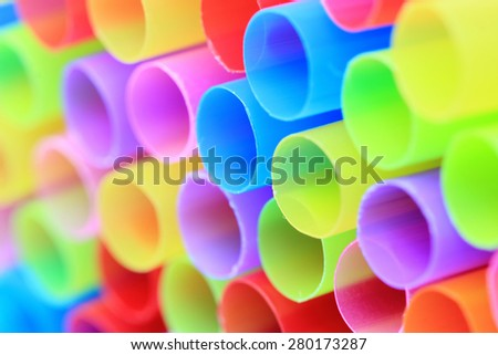 Closeup of colorful drinking straws,