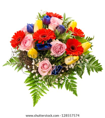 closeup of colorful spring flowers bouquet isolated on white background. pink roses, red gerbera, yellow tulips, blue anemone - stock photo