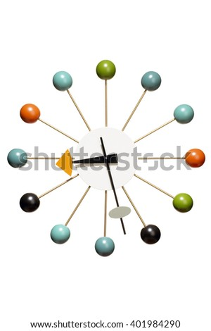 Closeup of colorful wall clock over white background - stock photo