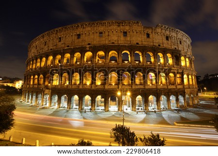 closeup of Colosseum at Dusk, Rome Italy - stock photo