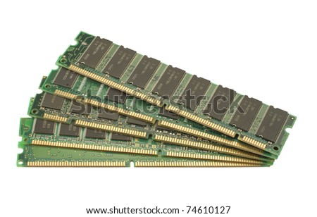 closeup of computer green RAM memory isolated on white background
