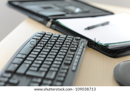 Closeup of computer keyboard set on desk