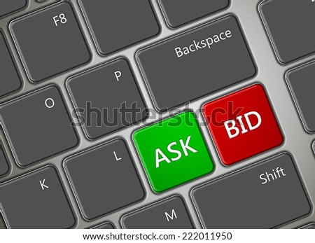 closeup of computer keyboard with ask and bid buttons - stock photo