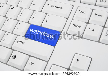 Closeup of computer keyboard with button withdraw - stock photo