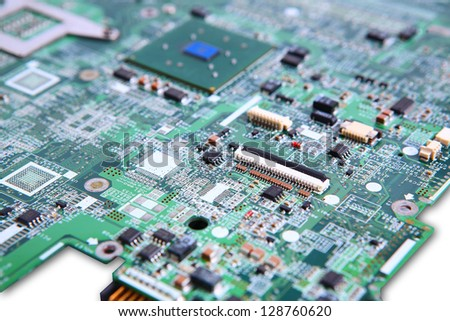 Closeup of computer micro circuit board - stock photo