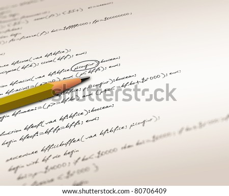 Closeup of computer software source codes with pencil - stock photo