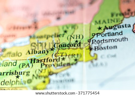 Closeup of Concord, New Hampshire on a political map of USA. - stock photo