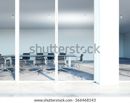 Closeup of conference room. 3d render