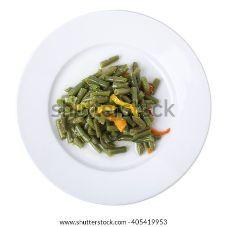 Closeup of cooked green beans with cut bell peppers. Isolated on a white background.