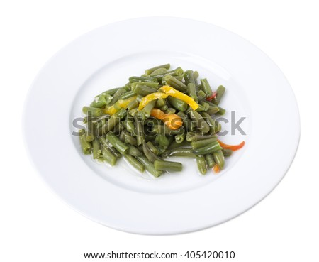 Closeup of cooked green beans with cut bell peppers. Isolated on a white background.   - stock photo