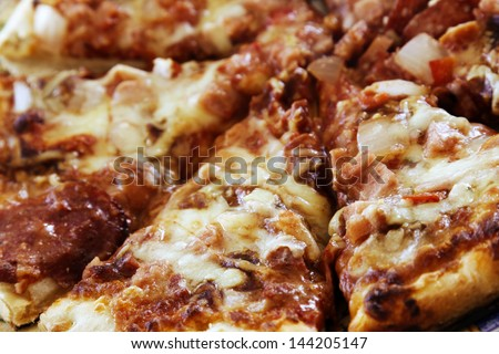 Closeup of cooked pizza slices
