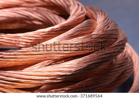 Closeup of copper wire, concept of industry development and market of raw materials - stock photo