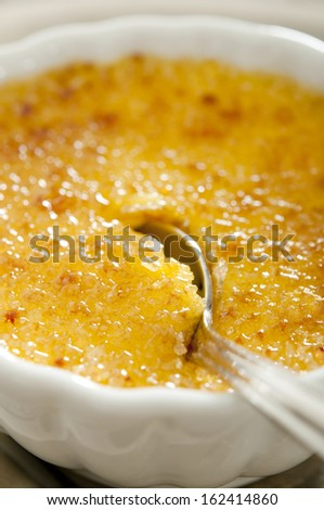 Closeup of creme brulee.
