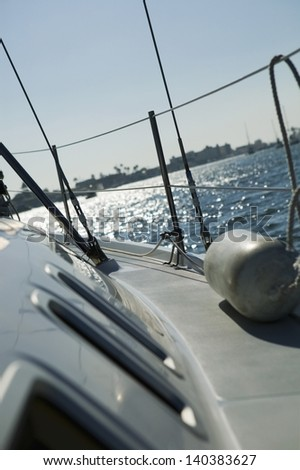 Closeup of cropped starboard on sailboat against clear sky