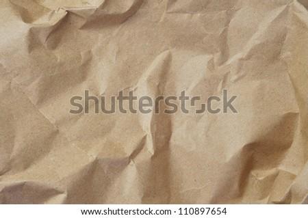 closeup of crumpled Kraft paper - stock photo